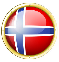 norway flag on round badge vector image