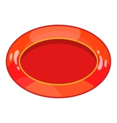 Oval red button icon cartoon style vector image