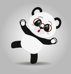 panda with glasses in the style of the cartoon vector image