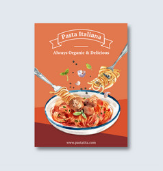 Pasta poster design with fork watercolor vector