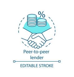 Peer-to-peer lender concept icon vector