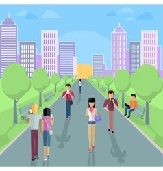 People with Smartphone on Street vector image