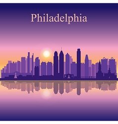 Philadelphia city skyline silhouette background vector image