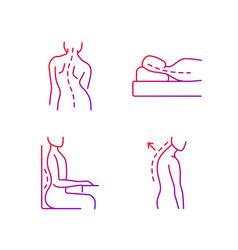 Poor posture problems gradient linear icons set vector