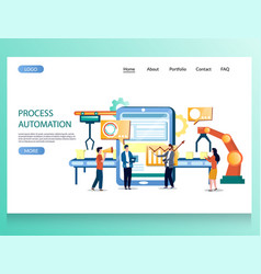 Process automation website landing page vector