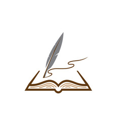 quill plume in papers write in an open book vector image