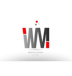 Red grey alphabet letter wm w m logo combination vector