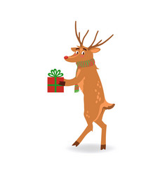 reindeer with red nose and vector image