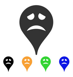 Sadly smiley map marker icon vector