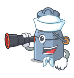 Sailor with binocular milk can mascot cartoon vector