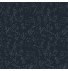 Seamless pattern of flowers herbs and leaves vector