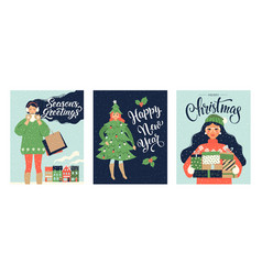 set christmas card and happy new year templates vector image