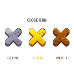Set icons close golden wooden and stone vector
