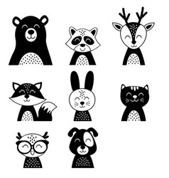 set isolated cute black animals vector image