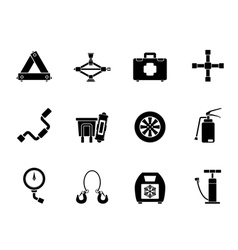 Silhouette car and transportation equipment icons vector