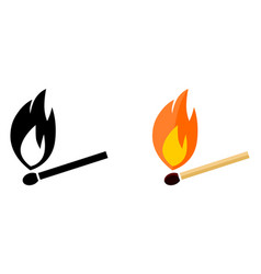 simple burning match icon black and white color vector image