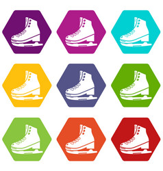 skates ice icons set 9 vector image