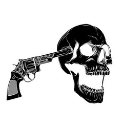 skull aiming with two revolvers vector image