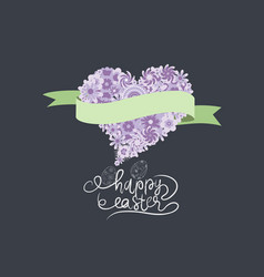 spring and easter with flower heart and ribbon vector image