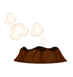 steaming or sleeping volcano with white clouds vector image