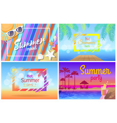 summer landscape beach composition set posters vector image