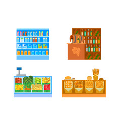 Supermarket stores empty shop departments vect vector