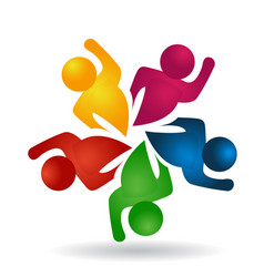 Teamwork group of energetic people icon logo vector