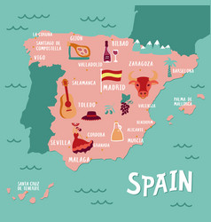 tourist map spain travel vector image