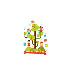 tree of knowledge cute little kids sitting on a vector image