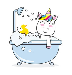 Unicorn bathing in a bathtub vector