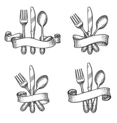 Vintage dinner table silverware set vector