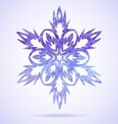 Watercolor blue painted Christmas snowflake vector