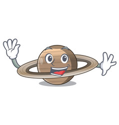 Waving image of planet saturn in character vector