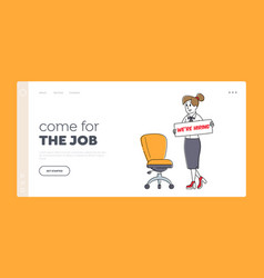 We are hiring landing page template hr manager vector