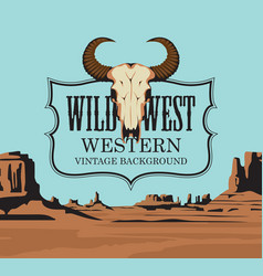 western vintage background with a skull bull vector image