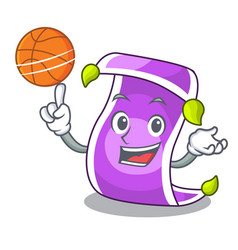 With basketball cartoon oriental magic carpet on vector