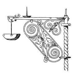 Wrought-iron bracket durable support vintage vector