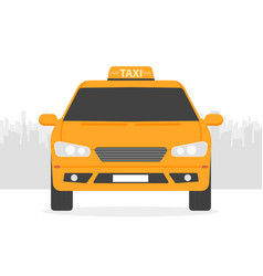 Yellow taxi car in front of city silhouette in vector