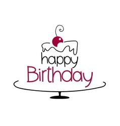 birthday cake drawing vector image vector image