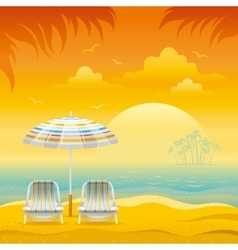 Sunset beach background with sea chairs and vector
