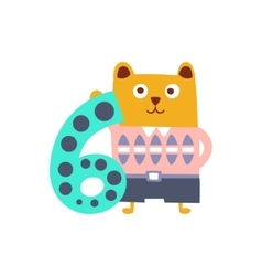 Bear standing next to number six stylized funky vector