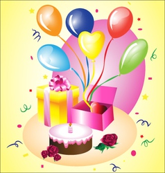 birthday gift with a cake vector image