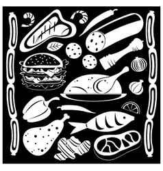 black and white food pattern vector image vector image