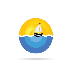 boat sail on the sea color vector image vector image