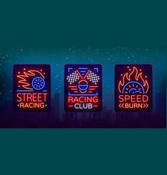 racing neon billboard logos pattern a glowing vector image vector image