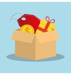 shopping online box gift tag price coin vector image