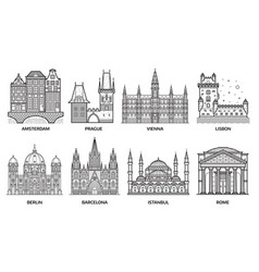 travel europe monuments and landmarks vector image