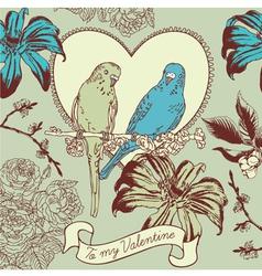 Vintage Valentines Love Birds Card vector image vector image