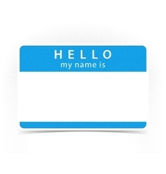 Blue color name tag blank sticker HELLO vector image