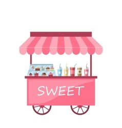 Icon of Kiosk with Cakes Milkshakes vector image vector image